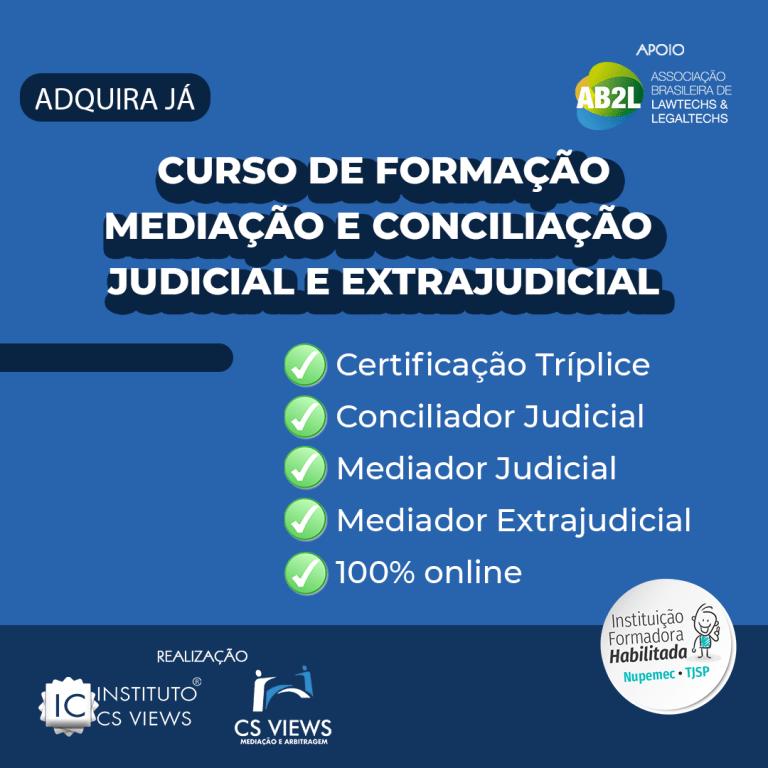 Curso de Formação de Conciliadores e Mediadores Judicial e Extrajudicial – 100% online